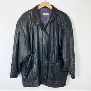 Vintage 80s leather jacket oversized dolman sleeve
